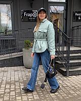 Женская стильная куртка-рубашка на кнопках с поясом, фото 1