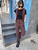 Женский стильный костюм брюки и жилет на пуговицах, фото 1