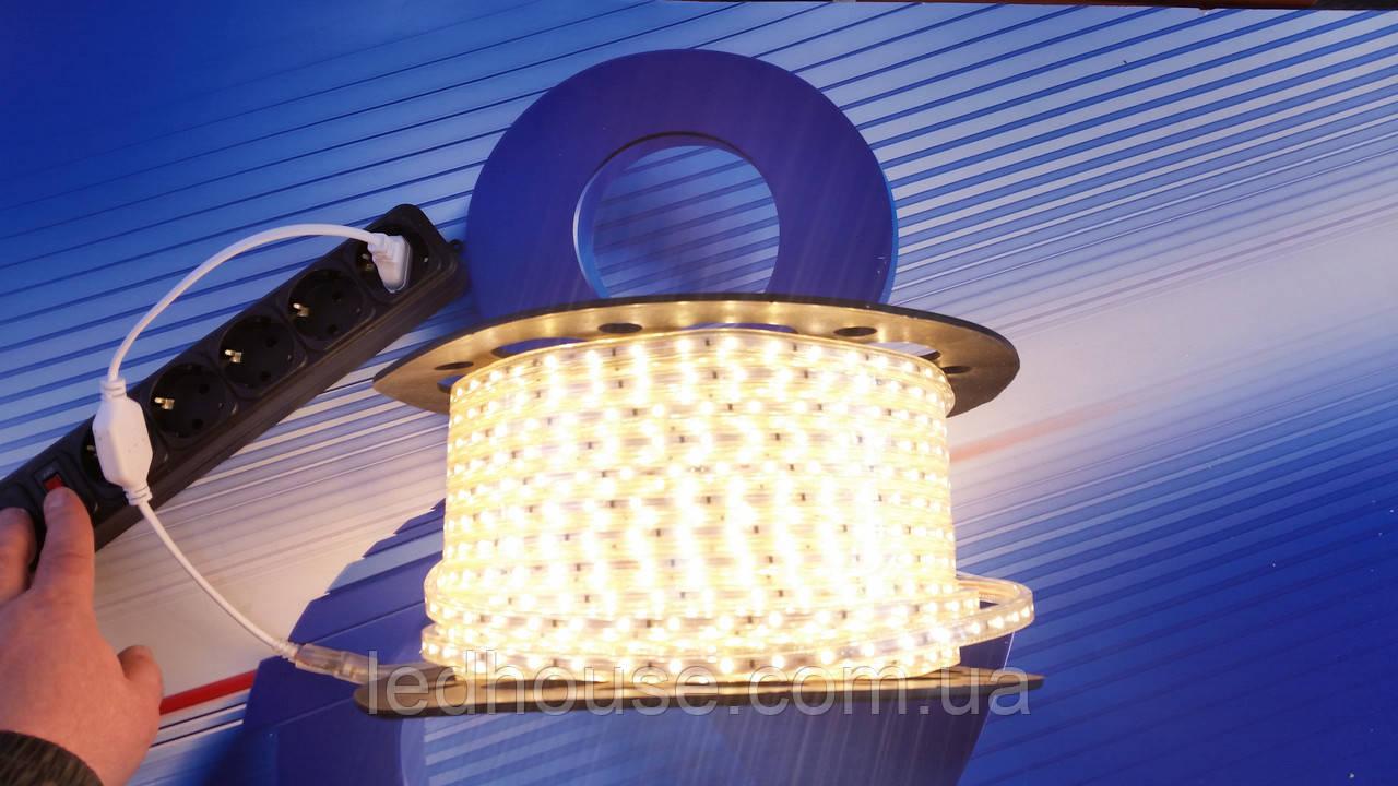 Светодиодная лента 220V 3528/60 led Тепло-белый  IP68