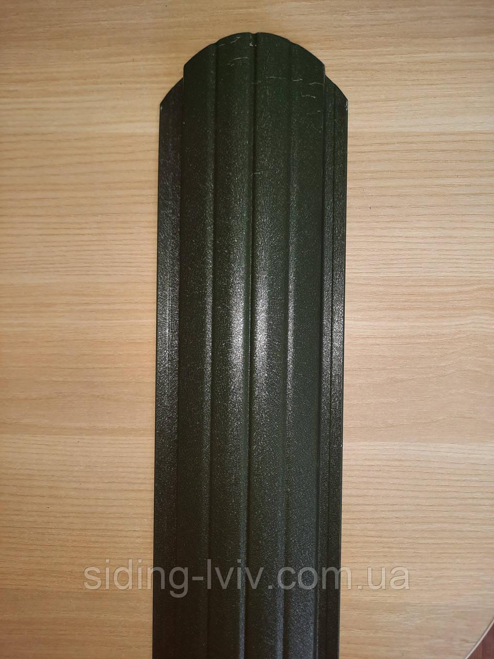 Штахети металеві 105 мм двох сторонній зелений мат (колір темно зелений 6020 мат)