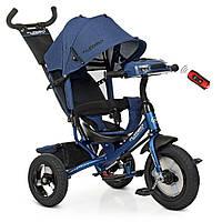 Триколісний Велосипед для дітей з музичною панеллю, фарою і ручкою TURBOTRIKE M 3115HA-11L, Синій льон