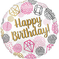 Шарик круг Happy Birthday Драгоценные камни