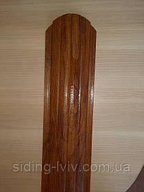 Штахетник металлические 105 мм Золотой дуб 3Д закругленными (евроштахетник под дерево)