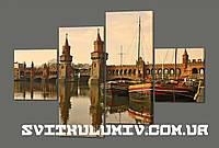 Модульная картина Мост через реку Шпрее в Берлине (Обермаумбрюкке ) 160*114 см Код: 421.4к.160