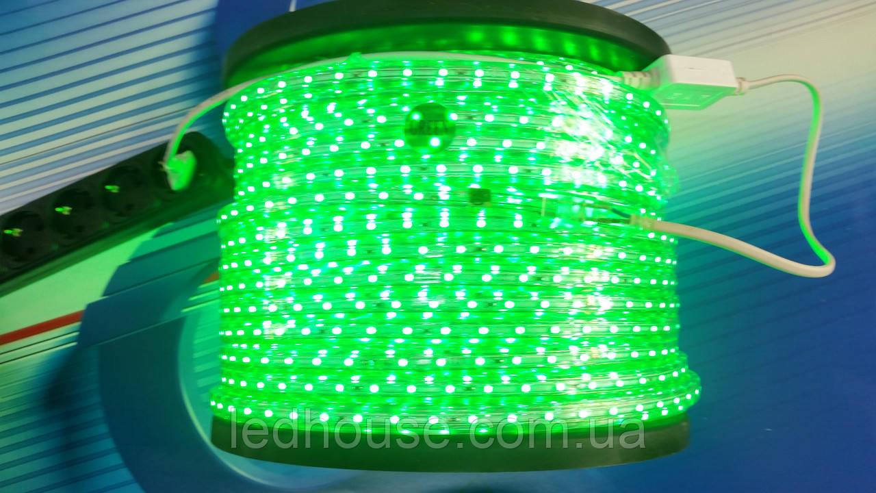 Светодиодная лента 220V smd 3528/60 led Зеленая  IP68