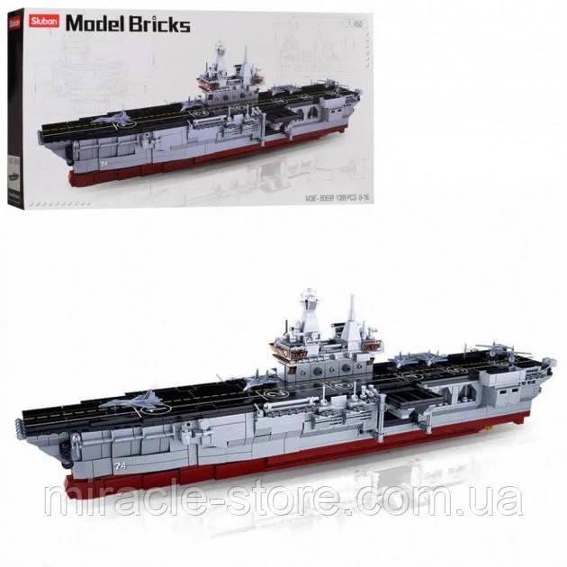 Конструктор Sluban Авіаносець 1088 деталей військовий корабель