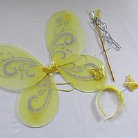 Детский набор феи желтого цвета крылья палочка обруч. Карнавальный набор Бабочка/Фея. Набор 3 в 1 феи 24937