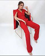 Женский стильный вельветовый брючный костюм-тройка, фото 1