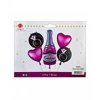 """Набір кульок повітр. фольг. """"Рожеве шампанське"""" 5шт №836928/Pelican/"""