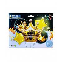 """Набір кульок повітр. фольг. """"Корона золота"""" 5шт №836933/Pelican/"""