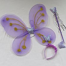 Детский набор феи сиреневого цвета крылья палочка обруч. Карнавальный набор Бабочка/Фея. Набор 3 в 1 феи 24937