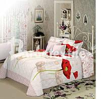 Двоспальне постільна білизна Gold - на білому червоні маки