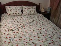Постельное белье двуспального стандарта Gold - с красными цветочками