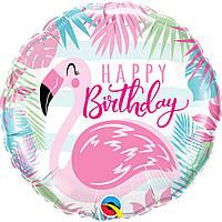 "Фольгированный шар  ""Happy birthday Фламинго"""