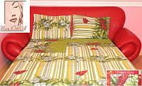 Двуспальное постельное белье Gold - цветные полосы