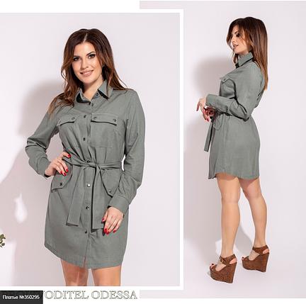 Літнє плаття-сорочка з льону великого розміру Україна Розміри: 50-52, 54-56, 58-60, фото 2