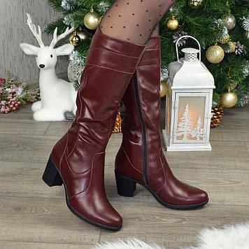 Кожаные женские сапоги на невысоком каблуке, цвет бордовый. 36 размер