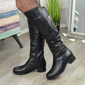 Сапоги женские зимние кожаные на невысоком устойчивом каблуке. 38 размер
