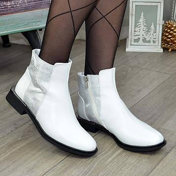 Ботинки женские комбинированные на маленьком каблуке, цвет белый. 37 размер