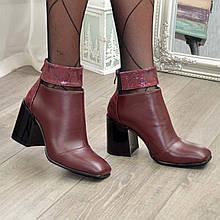 Ботинки бордовые женские с квадратным носком. Натуральная кожа и натуральная кожа с тиснением питон