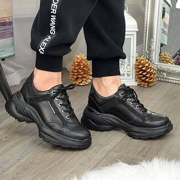 Кроссовки женские черные на шнуровке. Натуральная кожа и кожа нубук