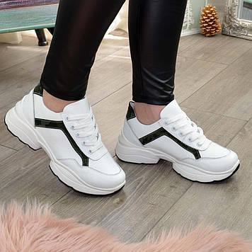 Кроссовки женские кожаные на шнуровке, цвет белый/зеленый защитный