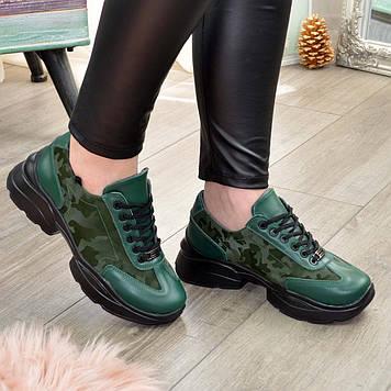 Кроссовки женские комбинированные на шнуровке, цвет зеленый