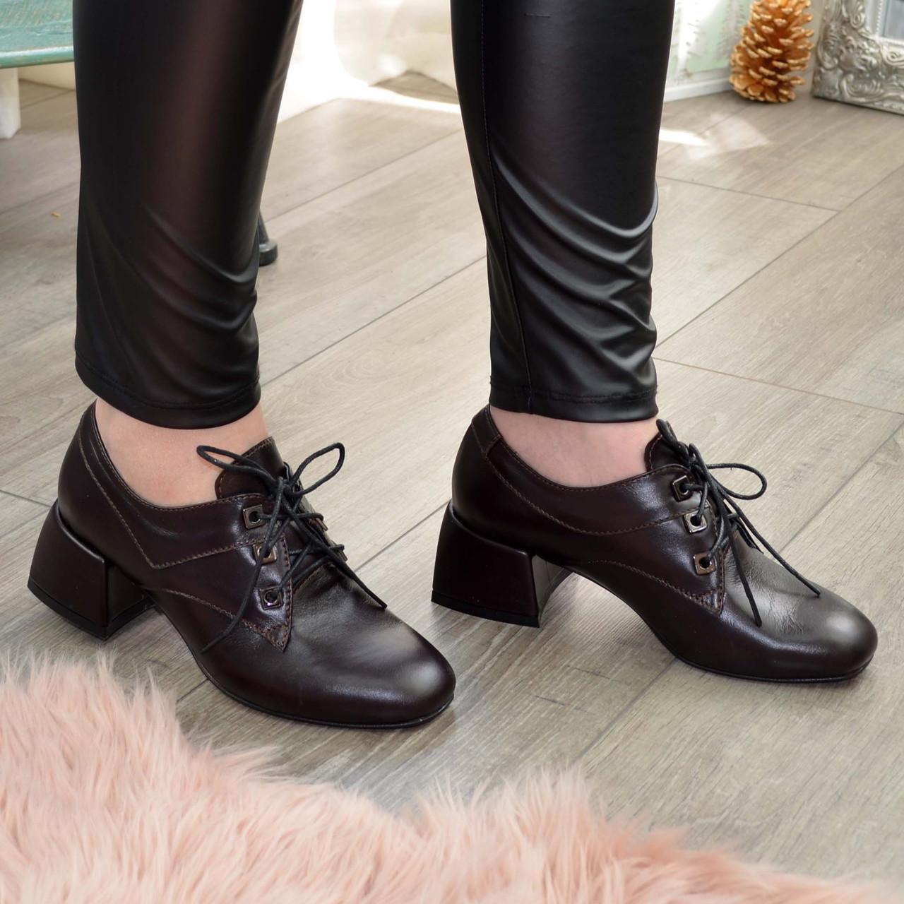 Туфлі жіночі шкіряні на маленькому підборах, колір коричневий