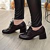 Туфлі жіночі шкіряні на маленькому підборах, колір коричневий, фото 4