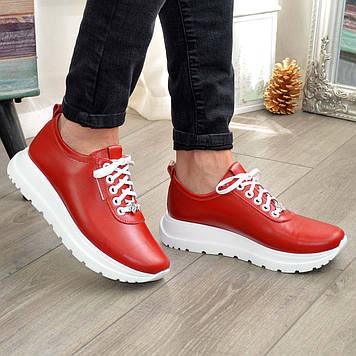 Кроссовки красные кожаные женские на шнуровке