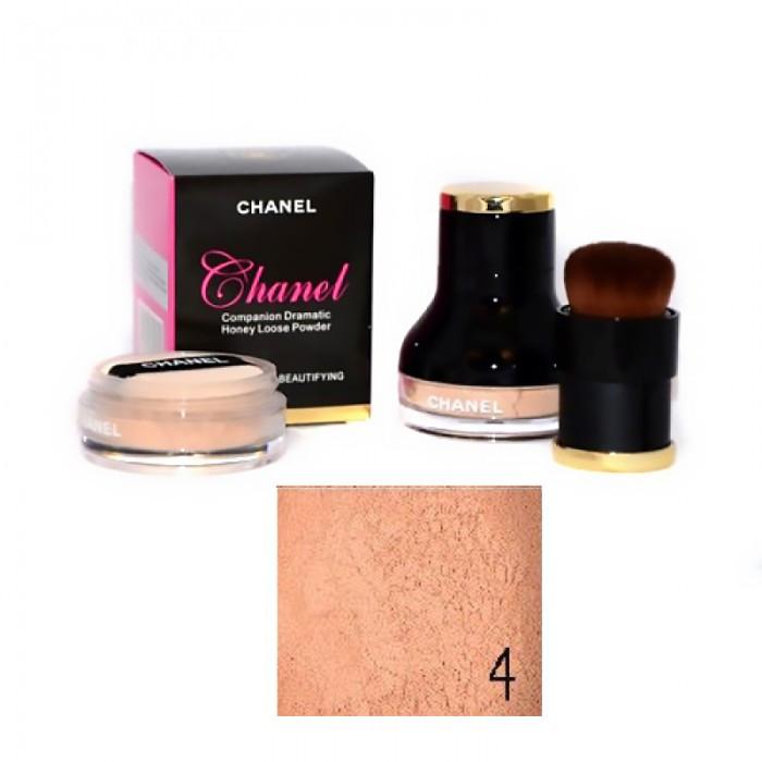 "Пудра розсипчаста Chanel ""Companion Dramatic Honey Loose Powder"" + кисть №4"