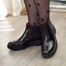 Ботинки челси лаковые женские с квадратным носком. Цвет черный
