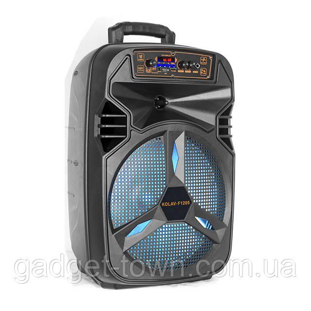 Акустическая аккумуляторная колонка 12 дюймов (USB/FM/BT/LED) KOLAV-F1205