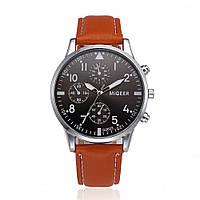 """Мужские классические наручные часы """"Migeer Brown"""" c коричневым ремешком"""