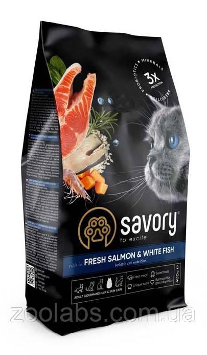 Корм Savory для взрослых кошек | Savory Adult Cat Gourmand Salmon & White Fish 400 грамм