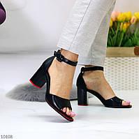 Женские босоножки на невысоком каблуке 8 см женские босоножки черные, экокожа Размер в наличии