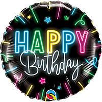 """Фольгированный шар  """"Happy birthday"""" неоновые лучи"""