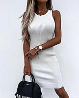Женское летнее платье в рубчик до середины бедра