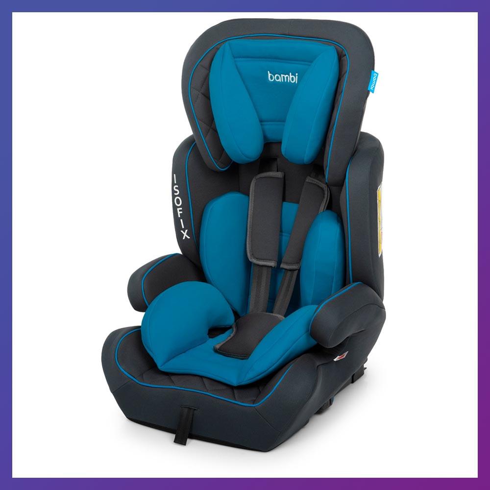 Автокрісло-бустер 2 в 1 для дітей від 1 року до 12 років Isofix Bambi M 4250 Blue блакитне