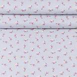 """Лоскут поплина """"Мелкие розовые розочки и белые точки на сером"""" (№3345), размер 25*102 см, фото 2"""