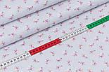 """Лоскут поплина """"Мелкие розовые розочки и белые точки на сером"""" (№3345), размер 25*102 см, фото 3"""