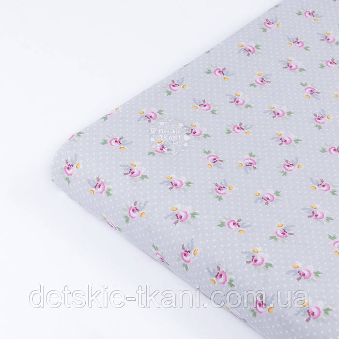 """Клапоть попліну """"Дрібні рожеві трояндочки і білі точки на сірому"""" (№3345), розмір 25*102 см"""