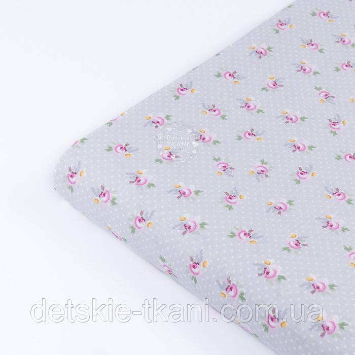 """Лоскут поплина """"Мелкие розовые розочки и белые точки на сером"""" (№3345), размер 25*102 см"""