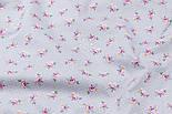 """Клапоть попліну """"Дрібні рожеві трояндочки і білі точки на сірому"""" (№3345), розмір 25*102 см, фото 4"""