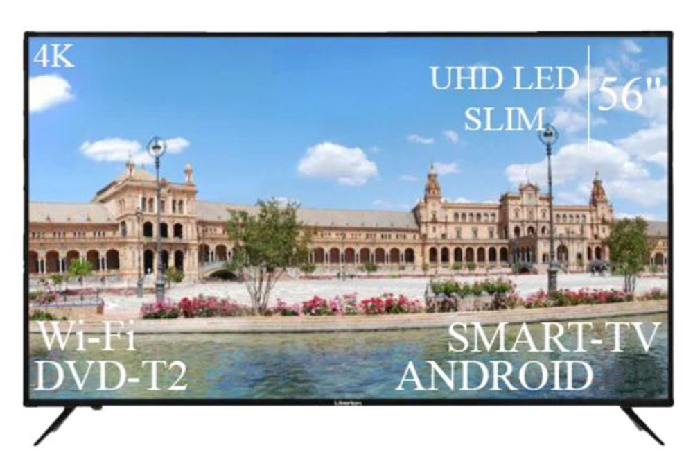 "СовременныйТелевизор Liberton 56"" Smart-TV+DVB-T2+USB АДАПТИВНИЙ UHD,4K+Android 9.0"