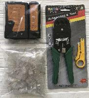 Обжимка, тестер, 100 rj45 коннекторов, стриппер