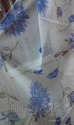 """Тюль печать """"Голубые цветы"""", фото 2"""