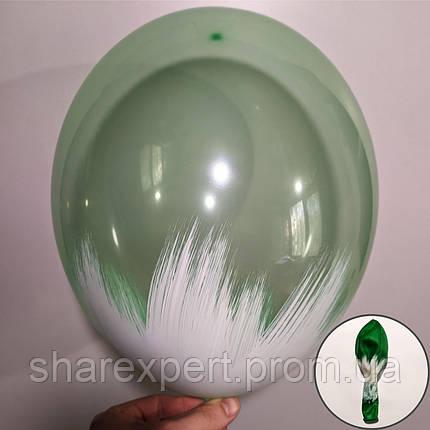 Білий на Зелених(кристал) латексних кульках, фото 2