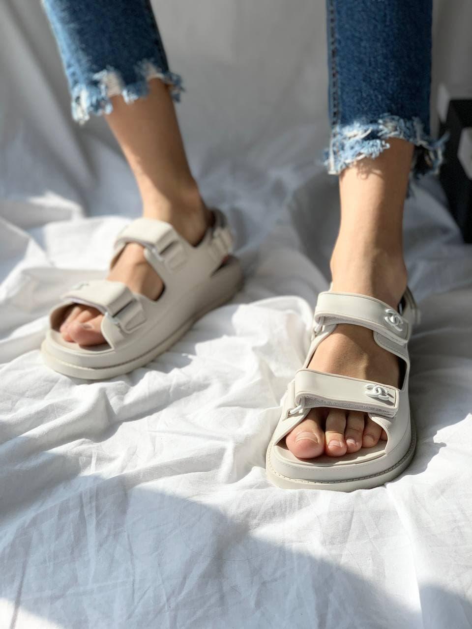 Жіночі сандалі Chanel Dad Sandals Light Grey