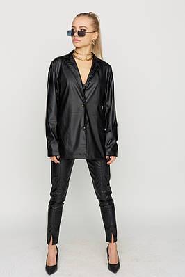 Черный женский пиджак из экокожи